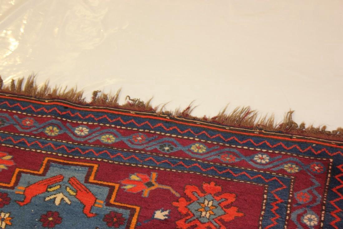 """Antique Handmade Kazak Caucasion Rug 4'2"""" x 6'2"""" - 7"""