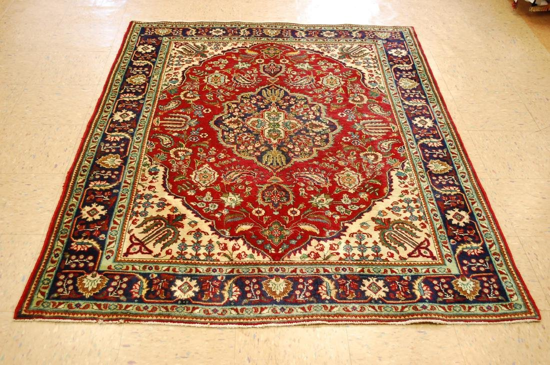 "Antique Fine Persian Tabriz Wool Rug 4'10"" x 6'3"""