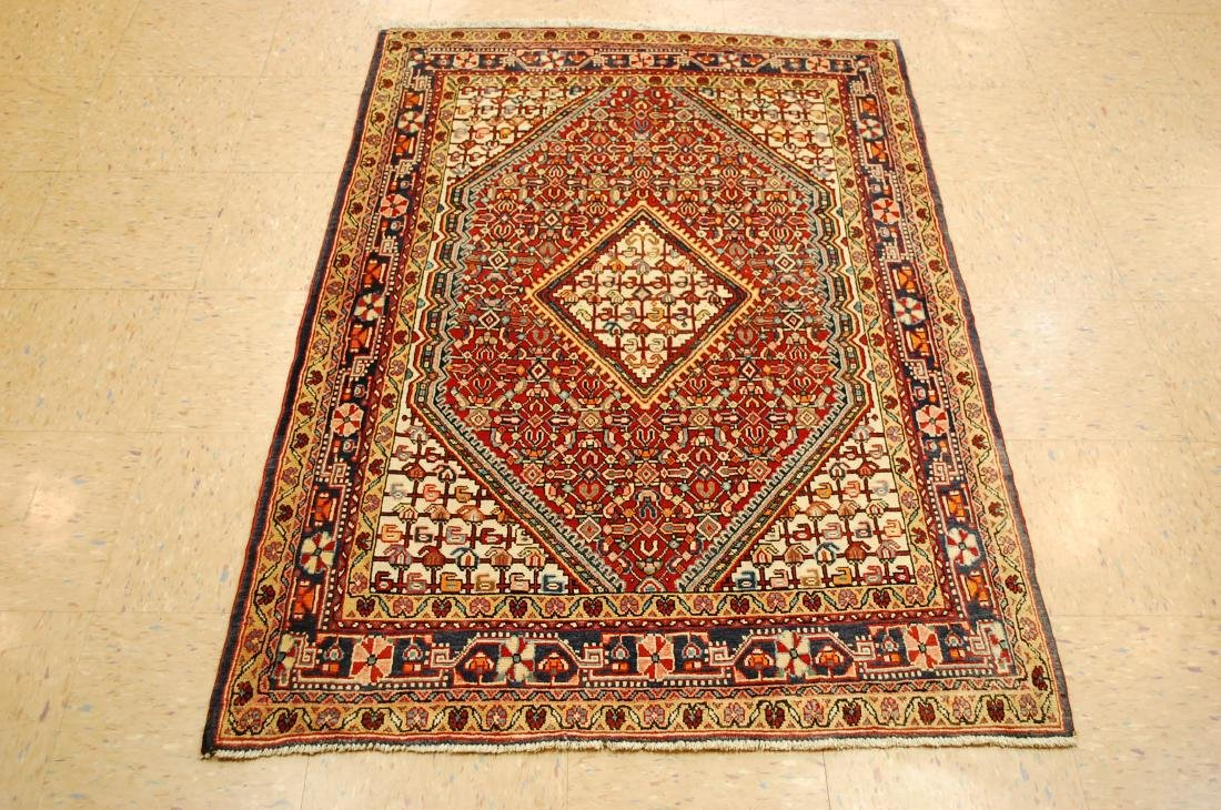 "Antique Detailed Persian Sarouk Wool Rug 3'6"" x 5'2"""