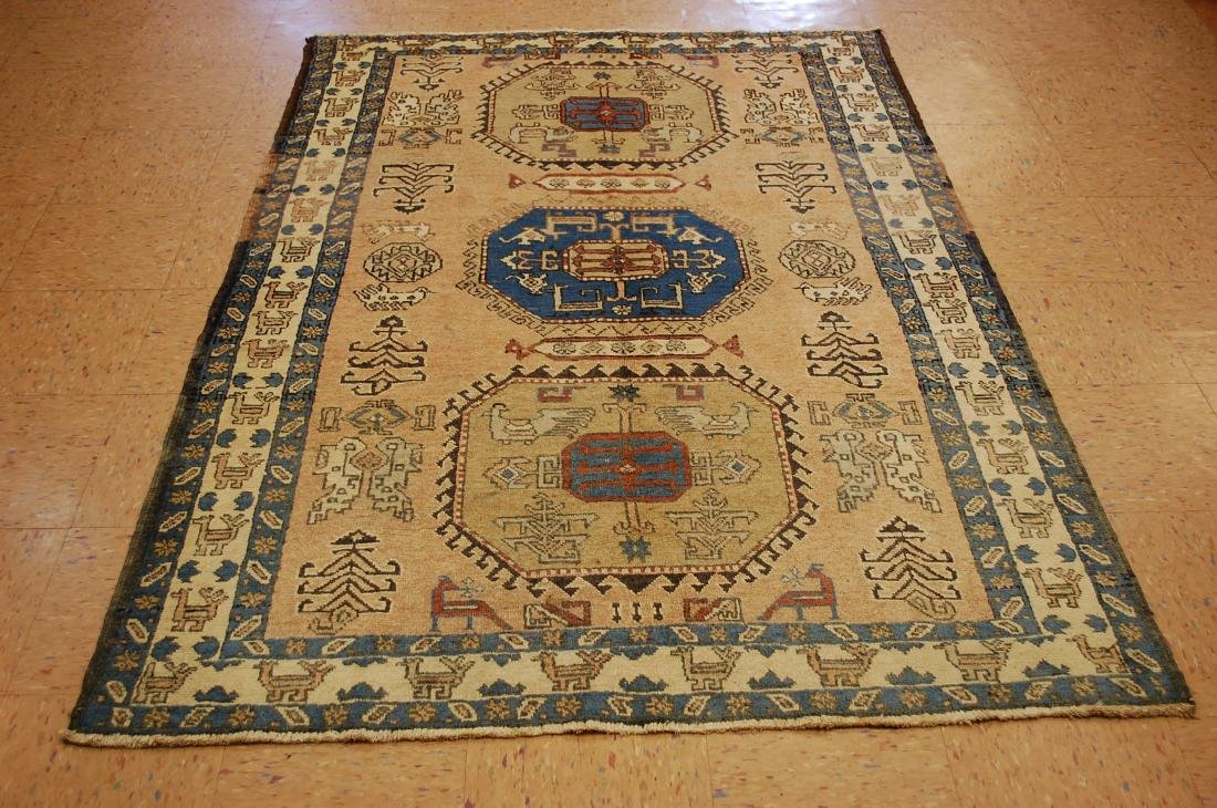 "Antique Caucasian Shirvan Kazak Wool Rug 4'6"" x 6' 3"""