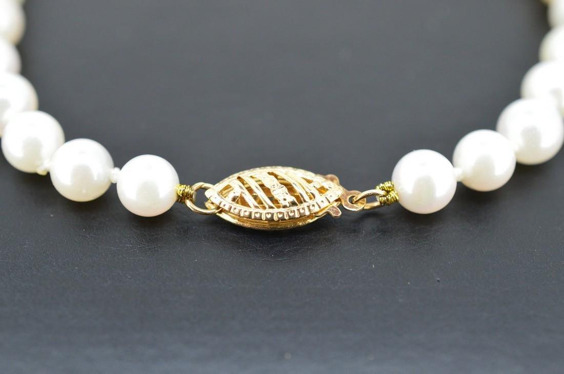 Akoya Pearl Bracelet W/ 14k Yellow Gold Clasp - 2
