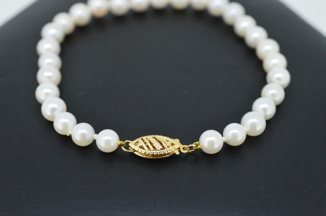 Akoya Pearl Bracelet W/ 14k Yellow Gold Clasp - 3