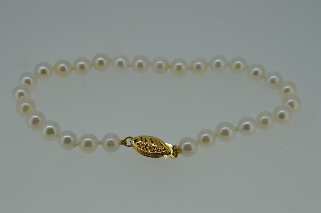 Akoya Pearl Bracelet W/ 14k Yellow Gold Clasp - 4