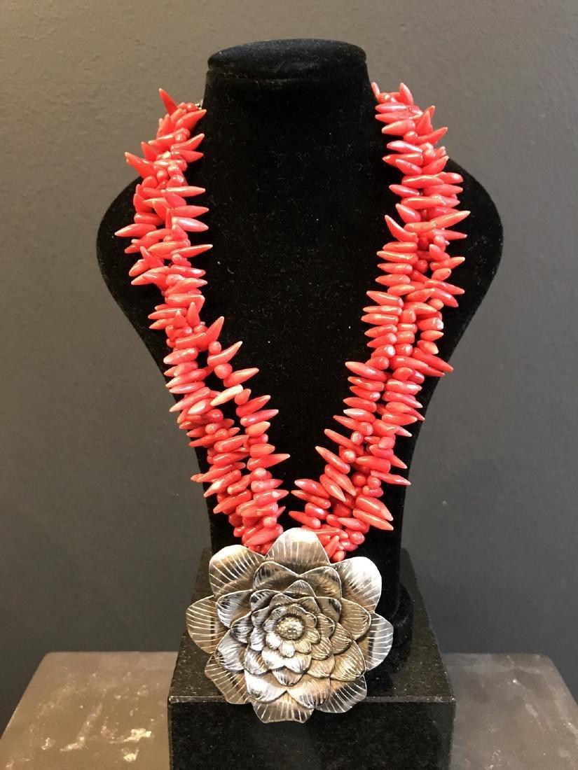 Vintage Mexican Silver & coral necklace