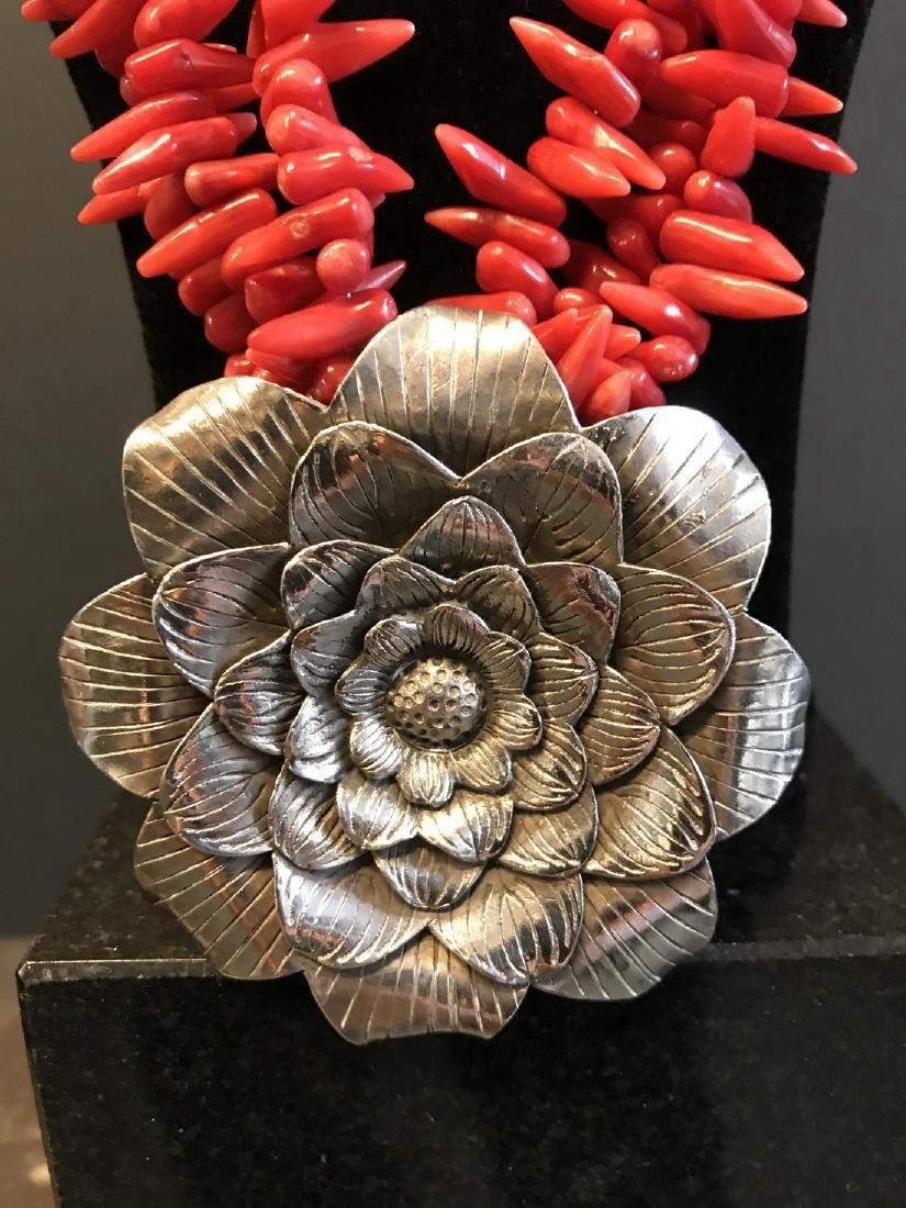 Vintage Mexican Silver & coral necklace - 2