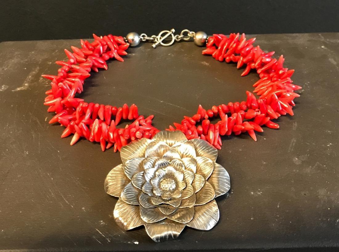 Vintage Mexican Silver & coral necklace - 3