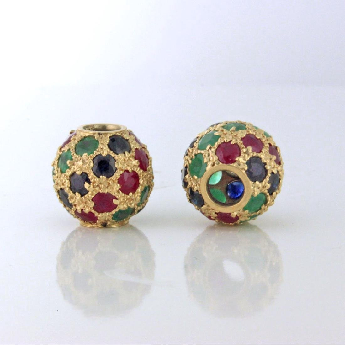 Ruby Emerald Sapphire 14k Gold Slide Pendants 1978