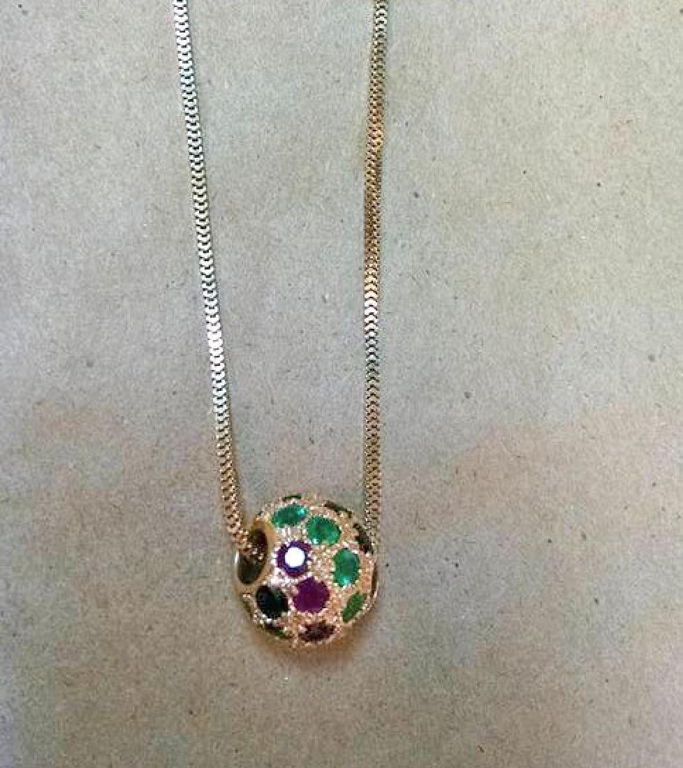 Ruby Emerald Sapphire 14k Gold Slide Pendants 1978 - 4