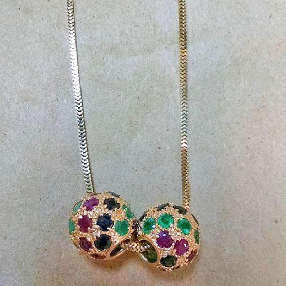 Ruby Emerald Sapphire 14k Gold Slide Pendants 1978 - 5