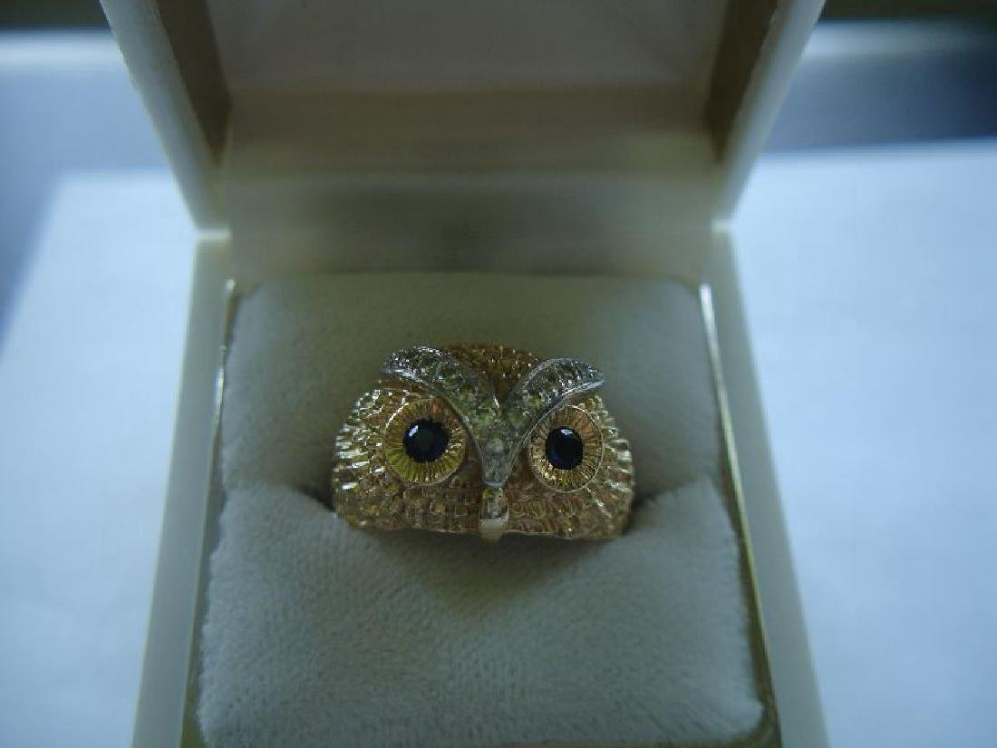 Estate 14k Gold Owl Ring W Sapphires Diamonds
