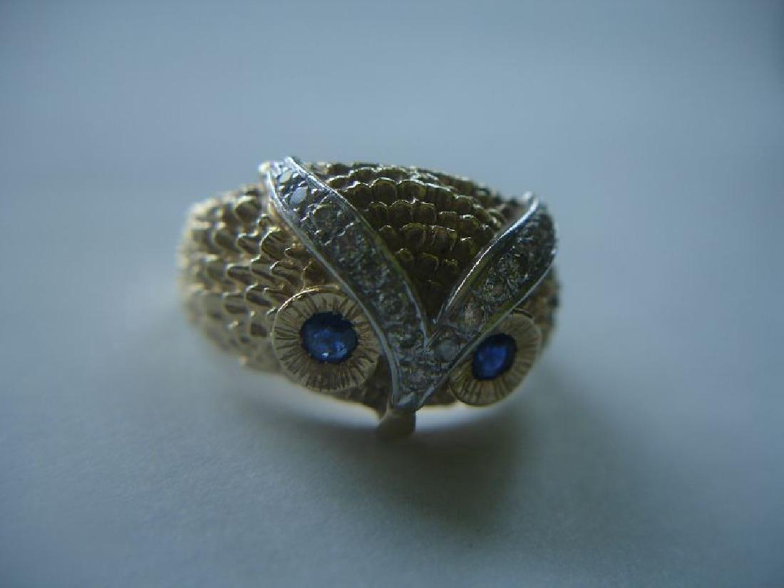 Estate 14k Gold Owl Ring W Sapphires Diamonds - 2