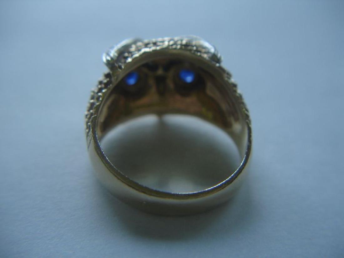 Estate 14k Gold Owl Ring W Sapphires Diamonds - 3
