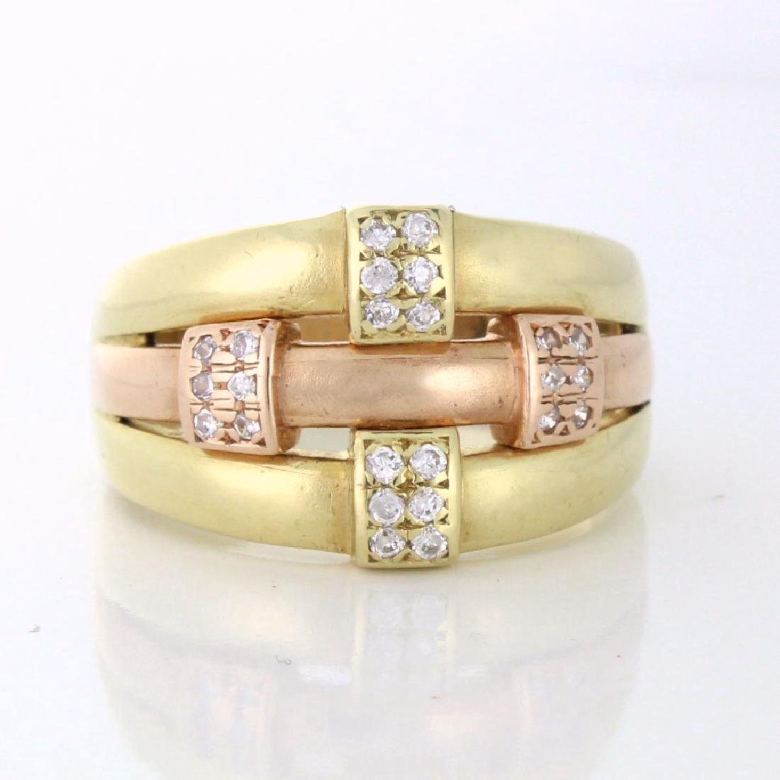 Estate Diamond Rose Gold & Yellow Gold Knot Ring