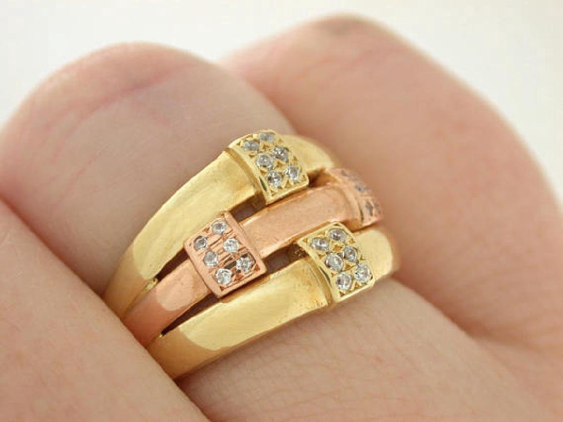 Estate Diamond Rose Gold & Yellow Gold Knot Ring - 4