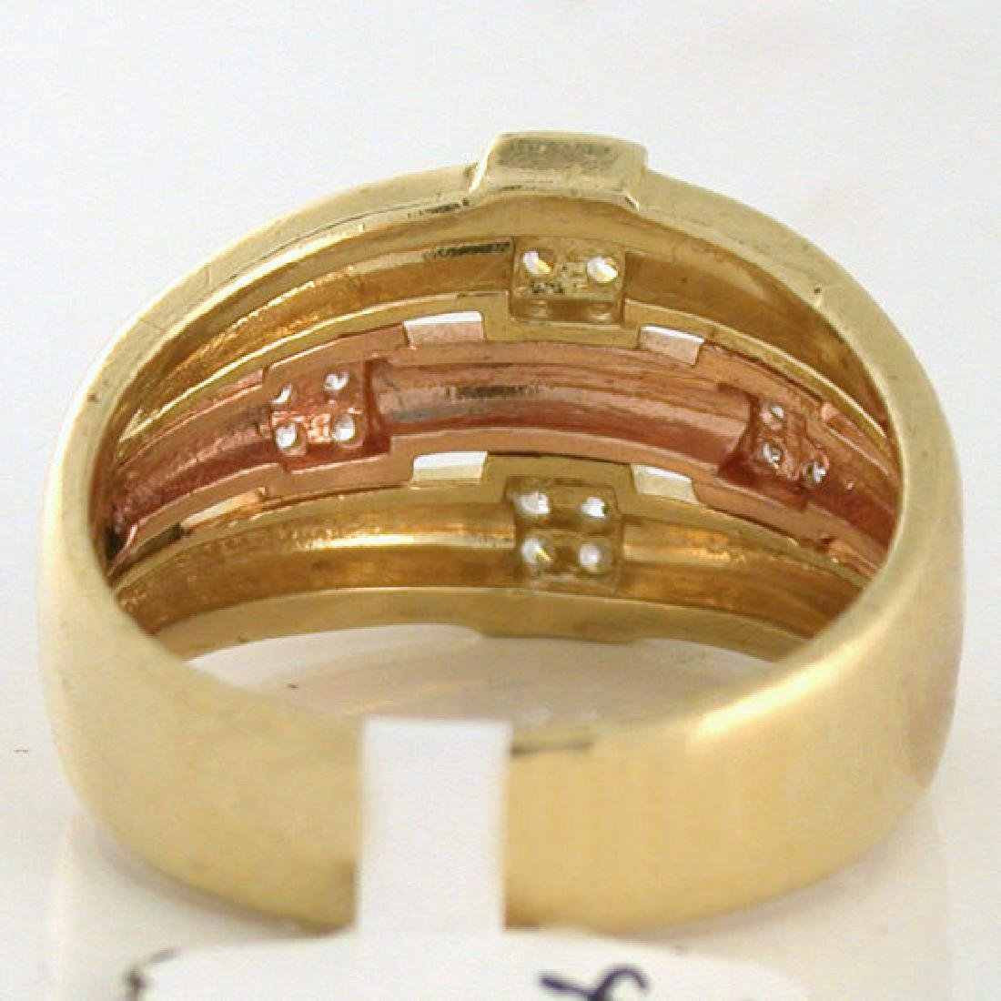 Estate Diamond Rose Gold & Yellow Gold Knot Ring - 5