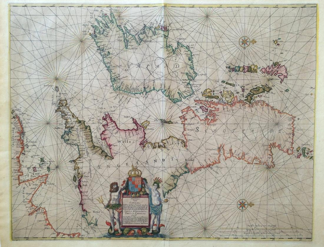 Janssonius: Sea Chart of British Isles, Gold Leaf, 1660