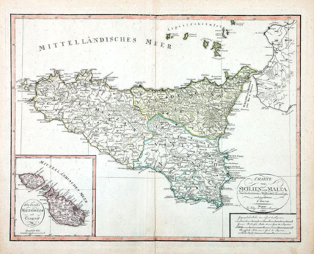 Goetze: Charte von Sicilien und Malta, 1801