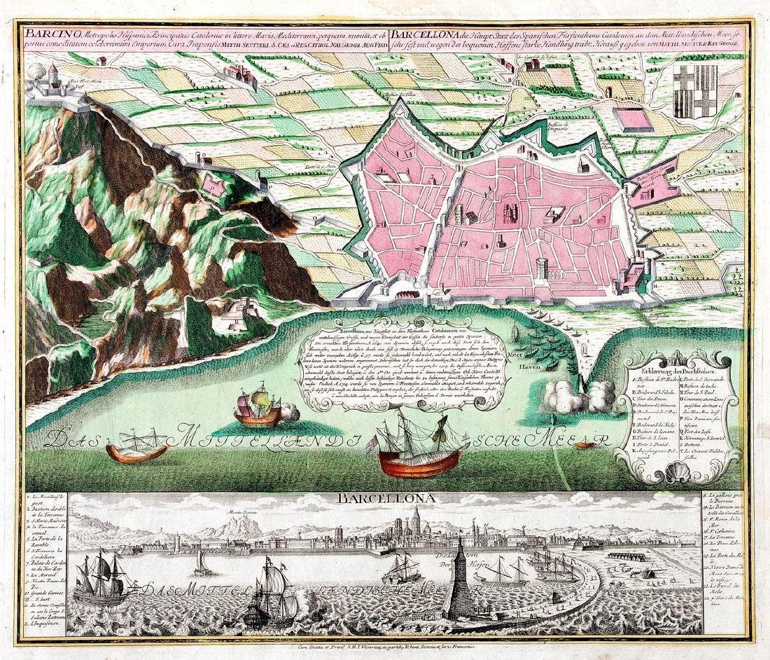 Seutter: Plan of Barcelona, 1740