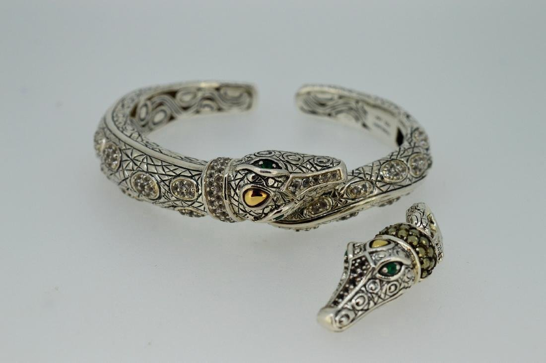 Judith Ripka Alligator Sterling Pendant & Cuff