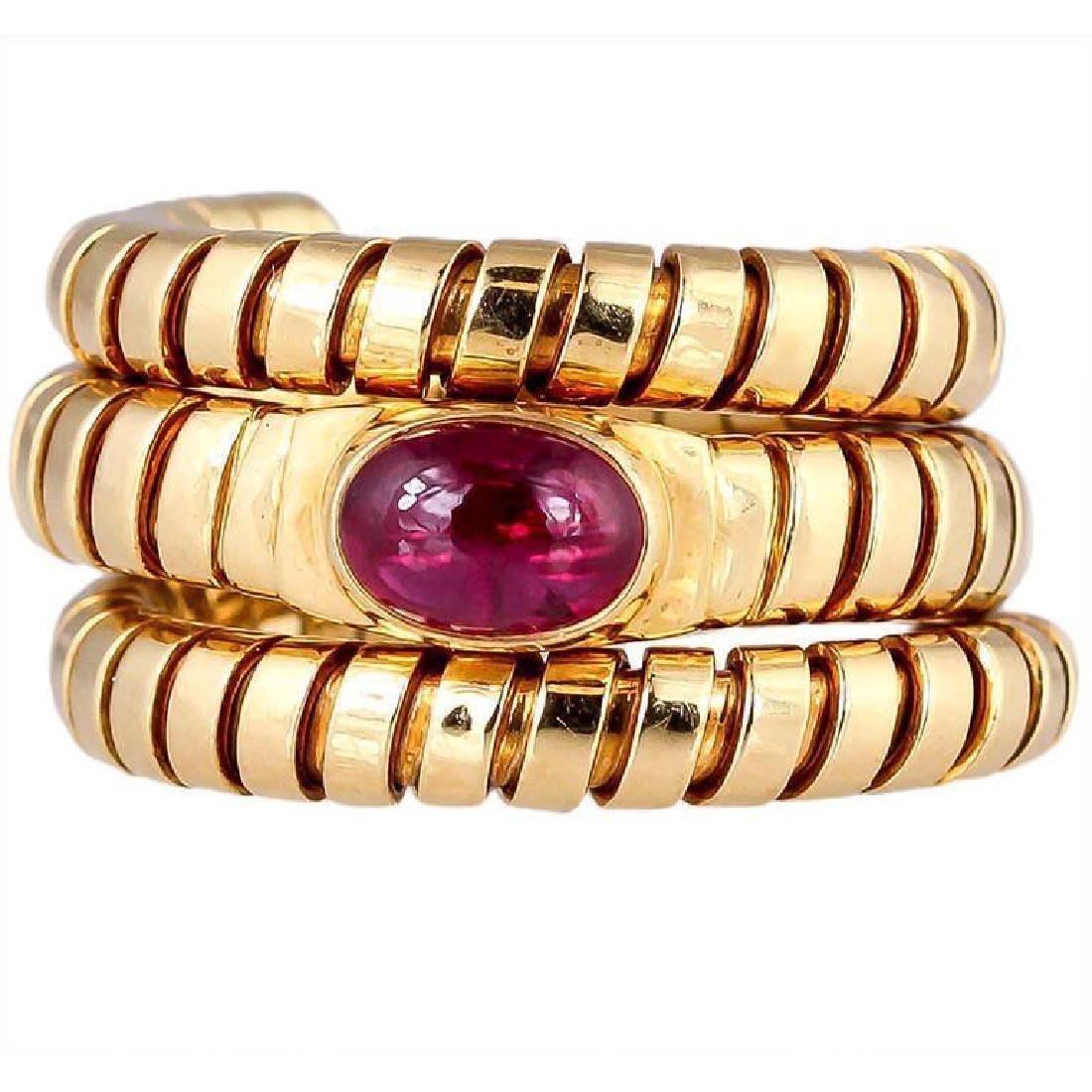 Estate Bulgari Tubogas 18k Gold & Ruby Snake Ring