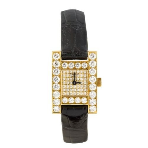 CHOPARD H Diamond ladies 18K Gold Watch w/Box & Papers