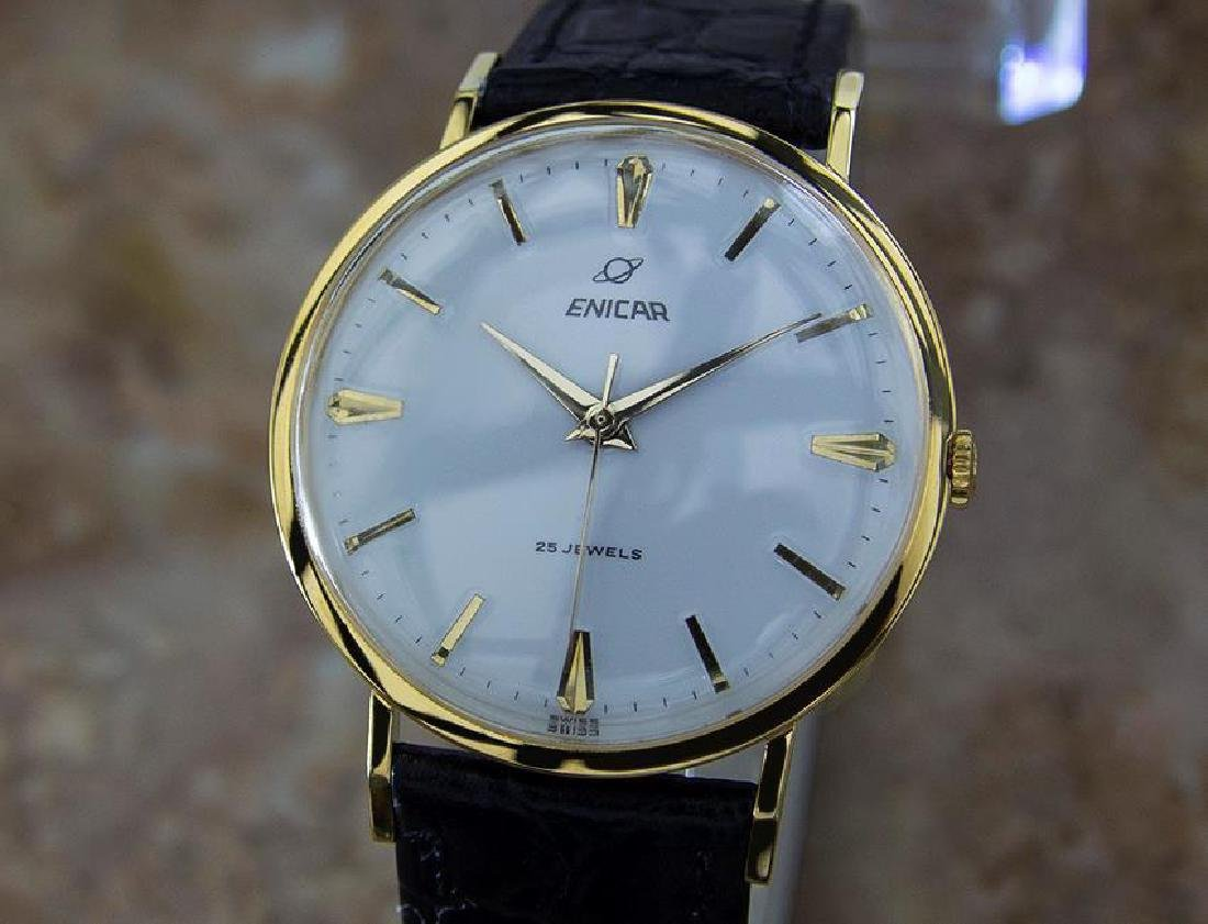 Enicar Swiss Rare Vinatge 1960s Mens Gold Plated Watch