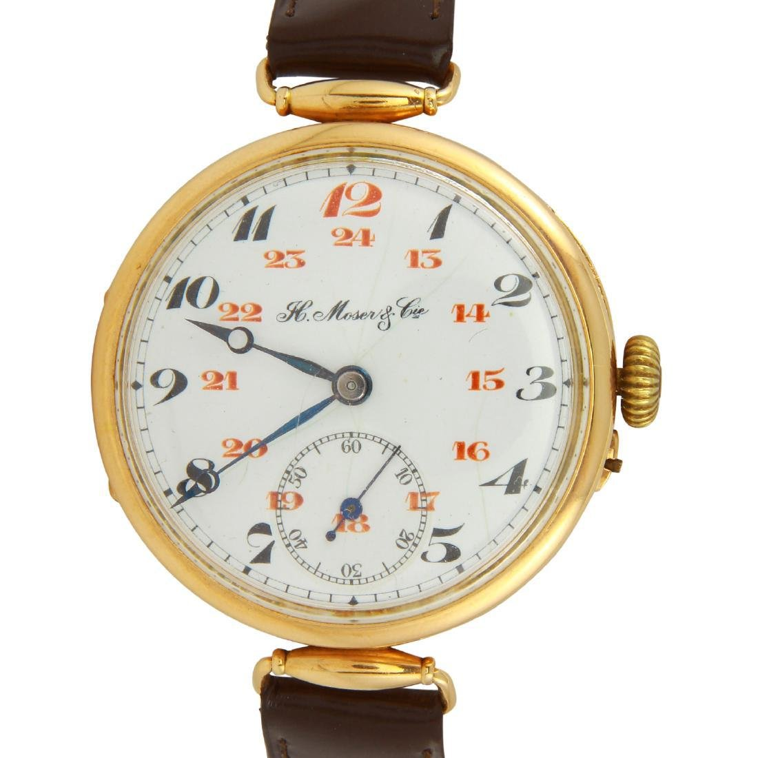 Antique Rare H. Moser & Cie 14k Gold Early Wristwatch