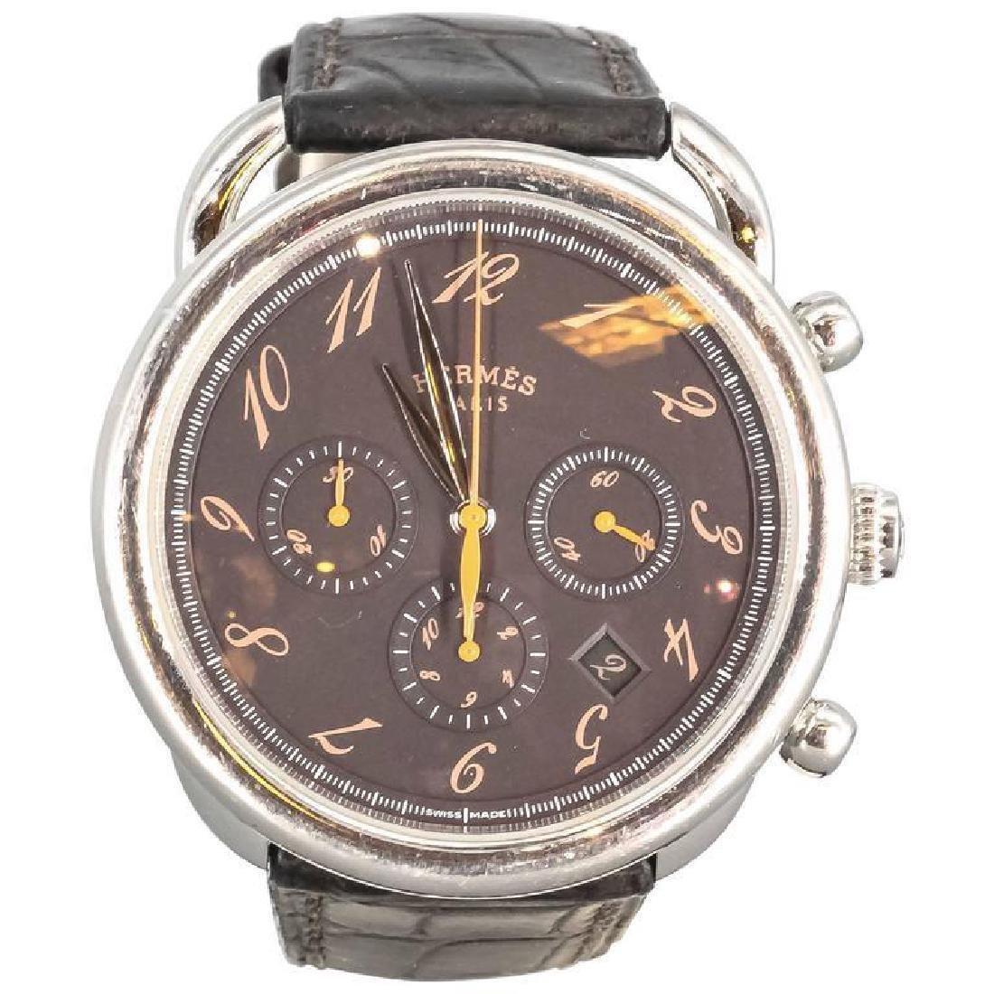 Hermes Stainless Steel Arceau Chronograph Wristwatch