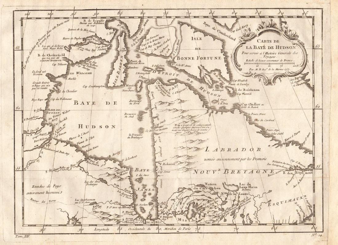 Bellin: Map of Hudson Bay, 1757
