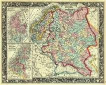 Mitchell: Map of Russia Sweden Norway Denmark, 1861