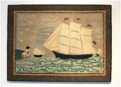 Vintage Nautical Hooked Rug 1930