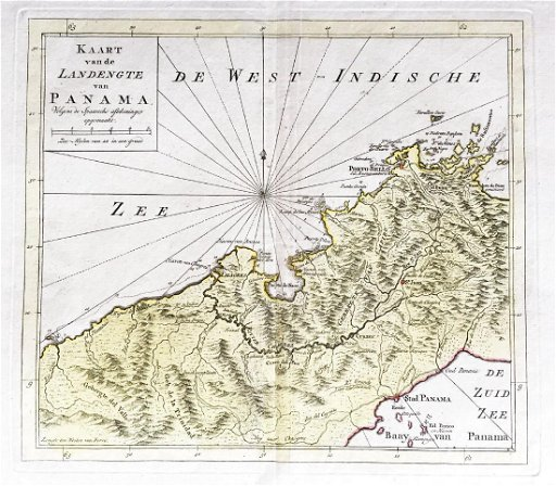 Tirion: Antique Map of Isthmus of Panama, 1750