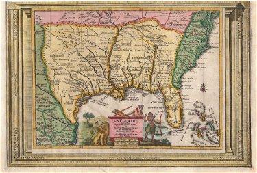van der Aa: Antique Map of Southeast US, 1713