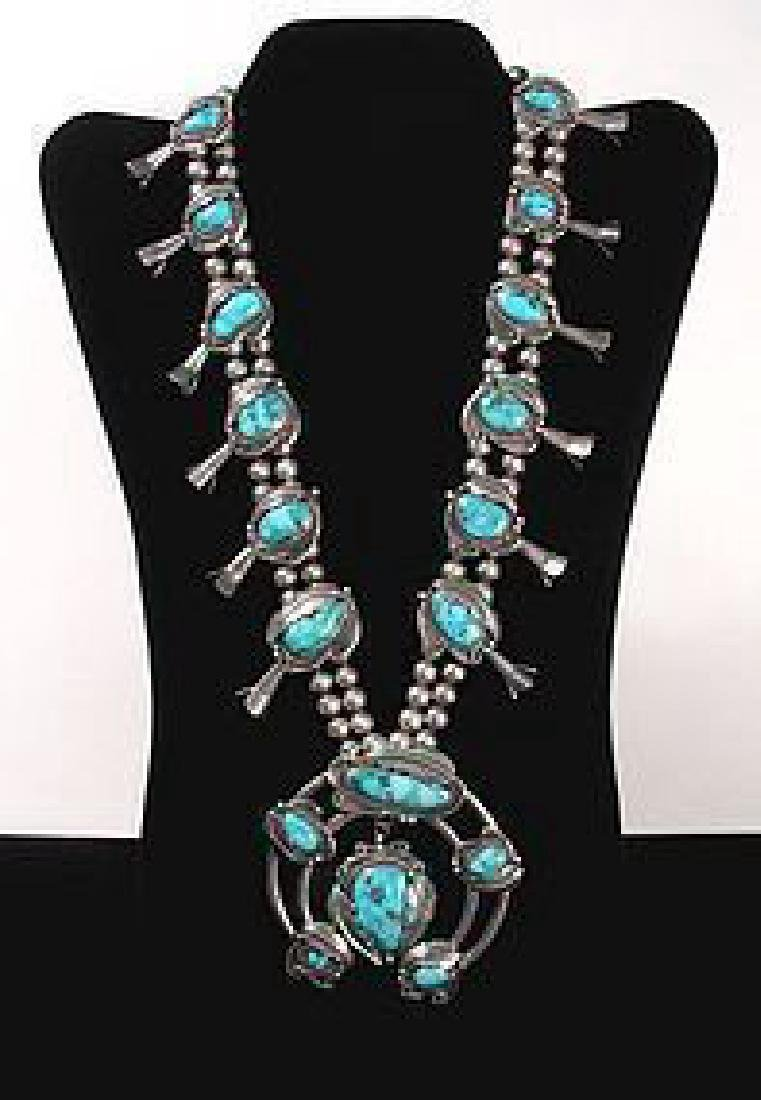 Vintage Navajo Silver & Turquoise Necklace