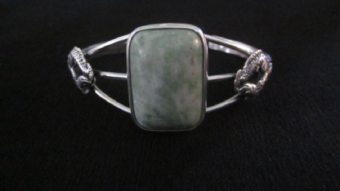 Sterling Silver Rectangular Green Turquoise Bracelet
