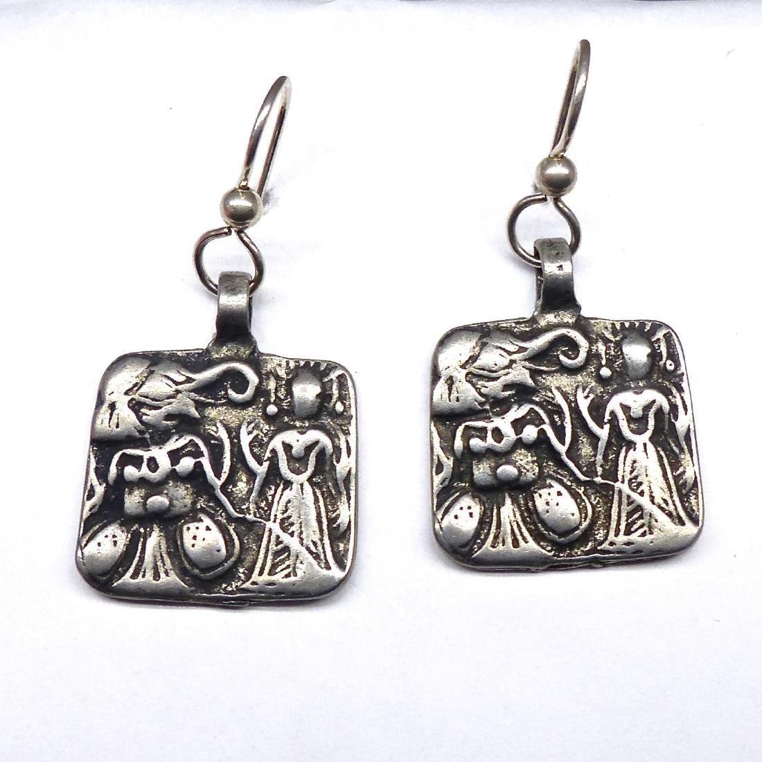 Vintage Silver Indian Pendants of Hanuman and Earrings