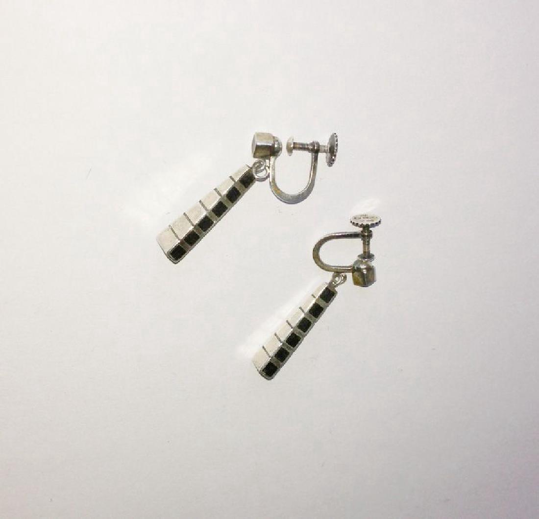 Arvo Saarela Scandinavian 50's Silver & Wood Earrings