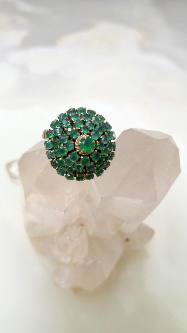 Antique Sterling Silver Ring Green Stone