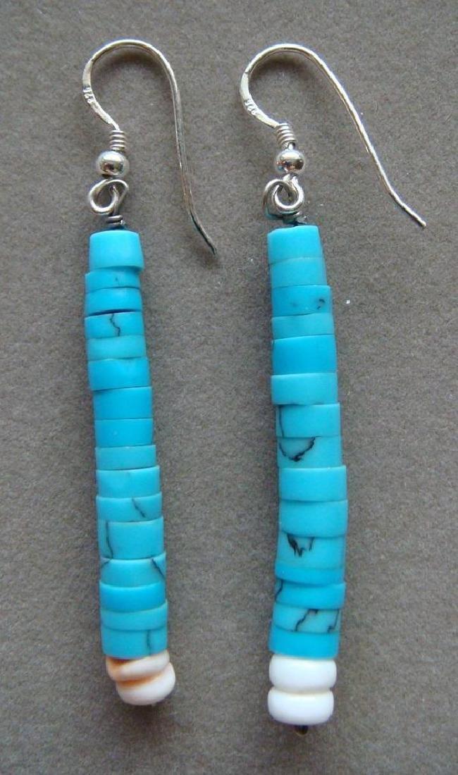 Turquoise & White Shell Heishi Earrings Sterling Hooks
