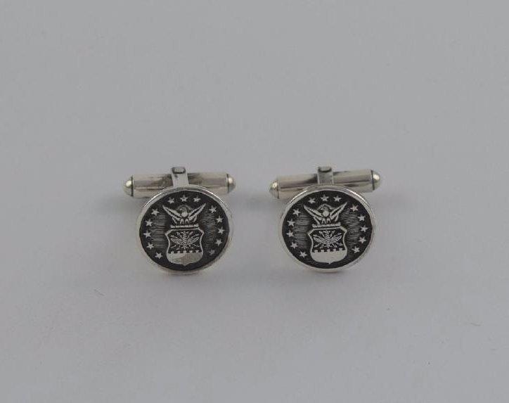 Vintage Sterling Silver Ms Meyer Military Cufflinks