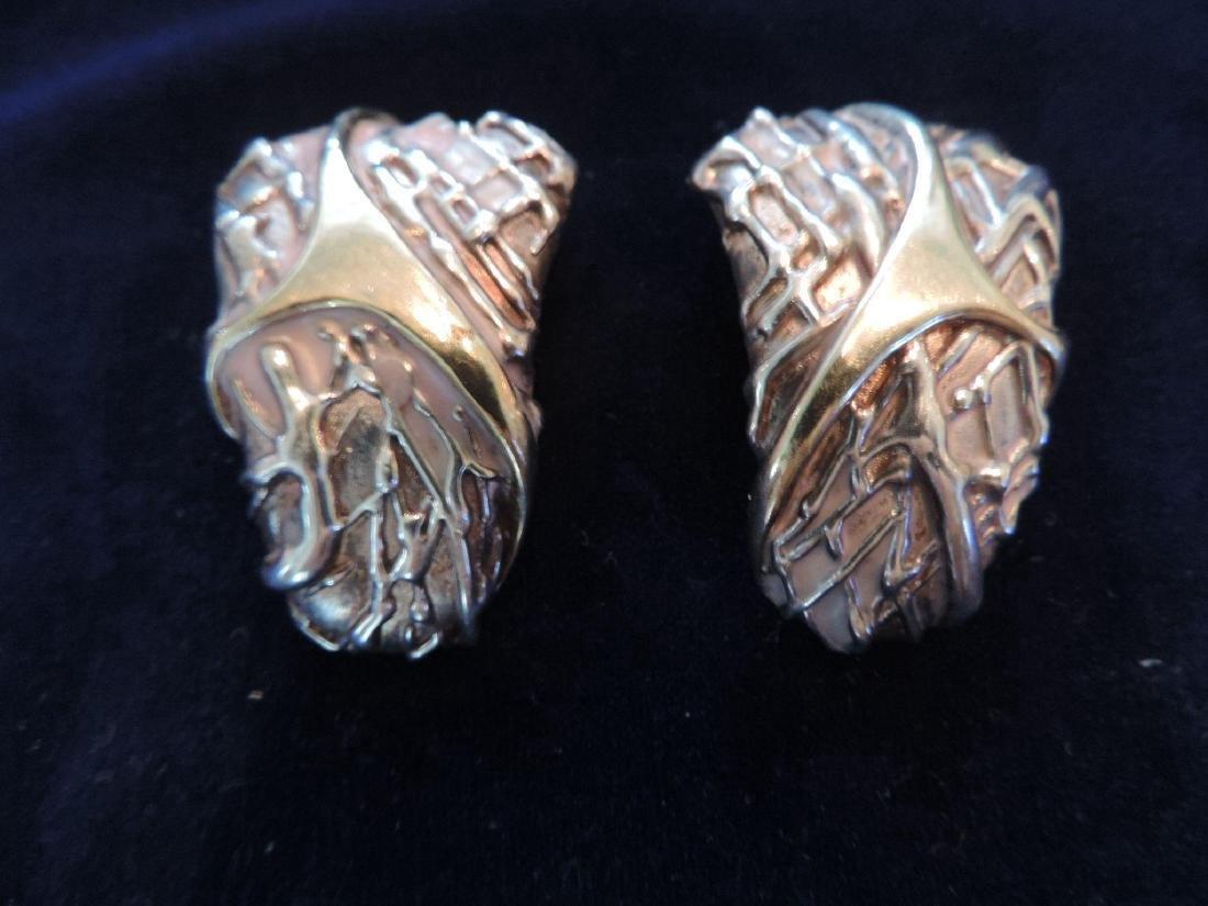 Vintage Estate Brutalist Sterling Silver Clip Earrings