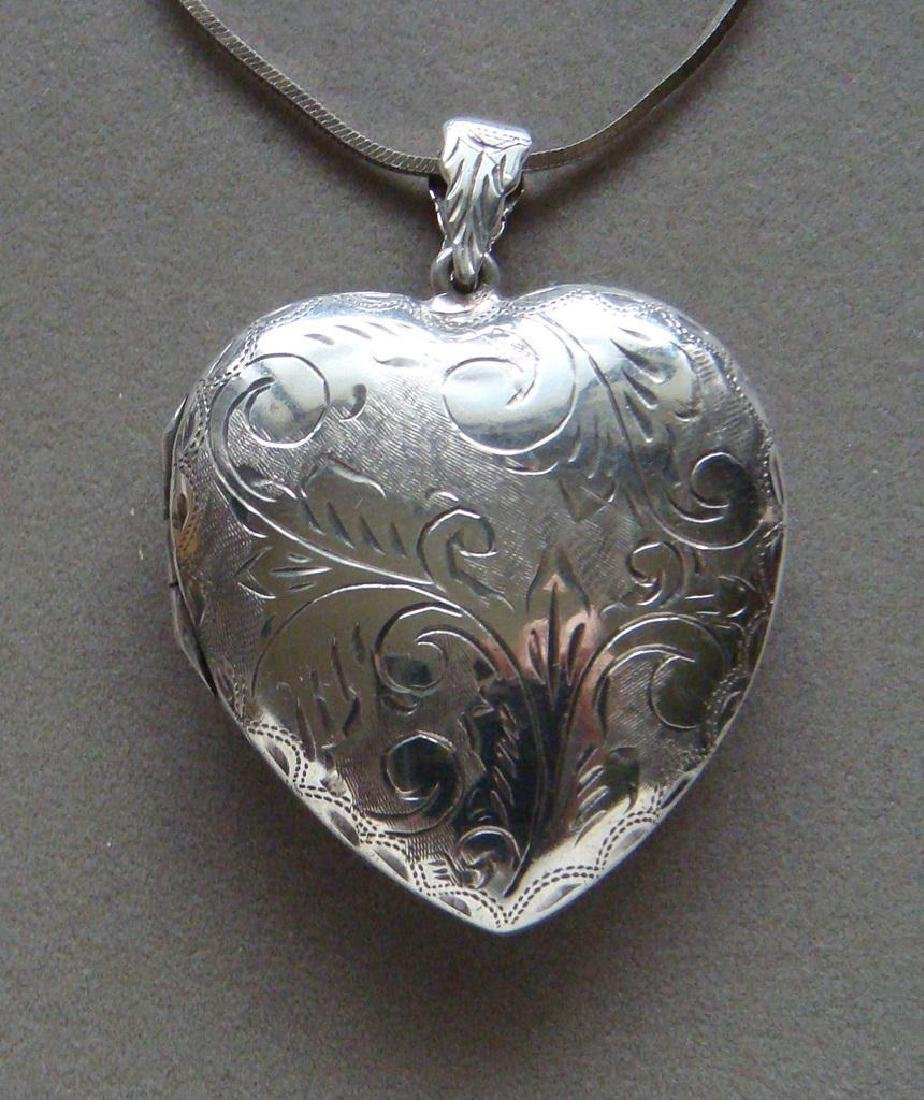 Giant Sterling Silver Engraved Heart Locket Necklace