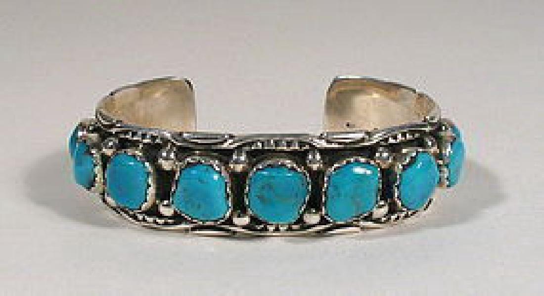Navajo Sterling Bisbee Turquoise Tommy Singer Bracelet