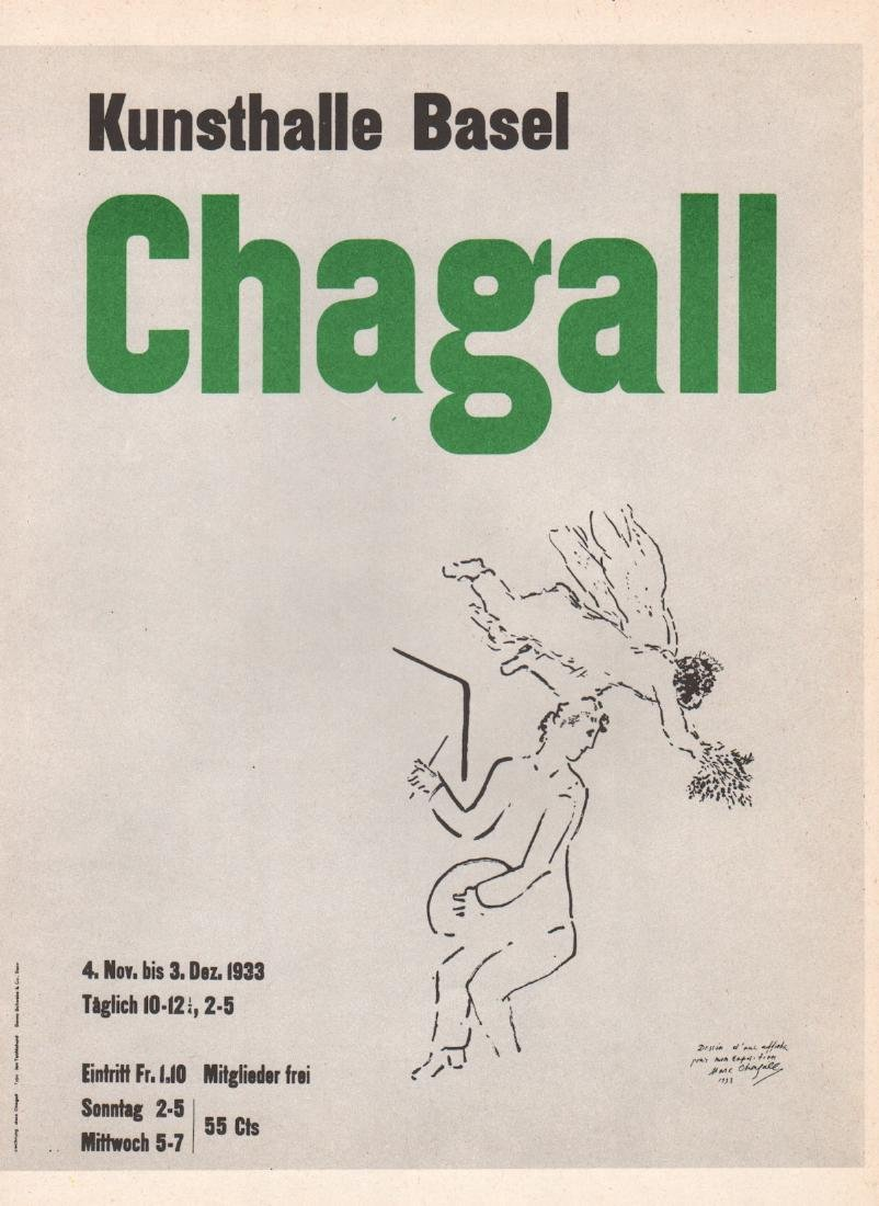"""Marc Chagall lithograph poster """"Kunsthalle Basel"""""""