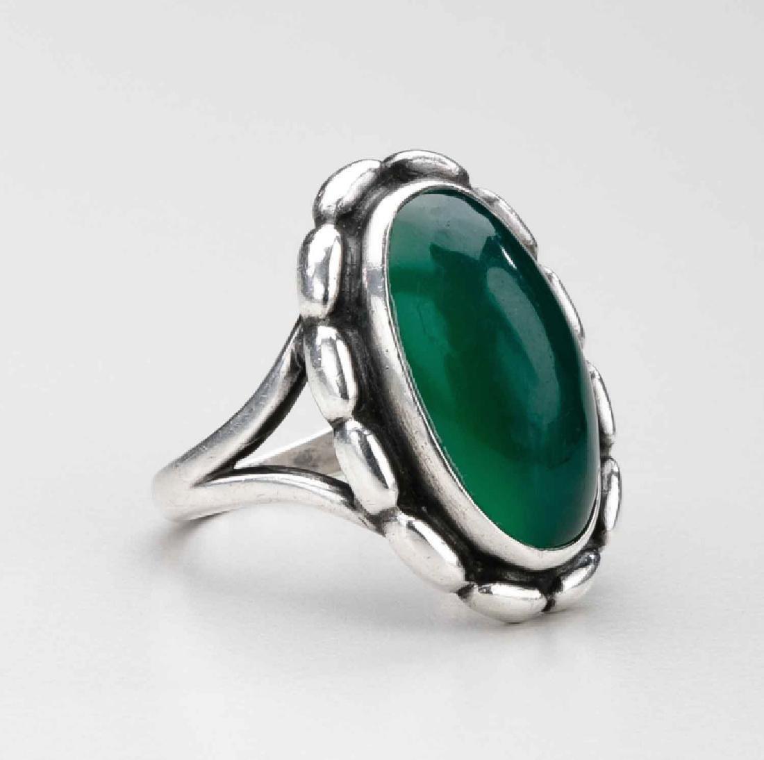Georg Jensen Sterling Silver Green Agate Ring