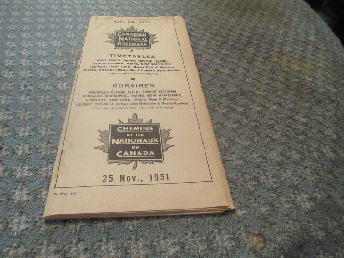 Canadian National Railways 11/1951 Public Time Table