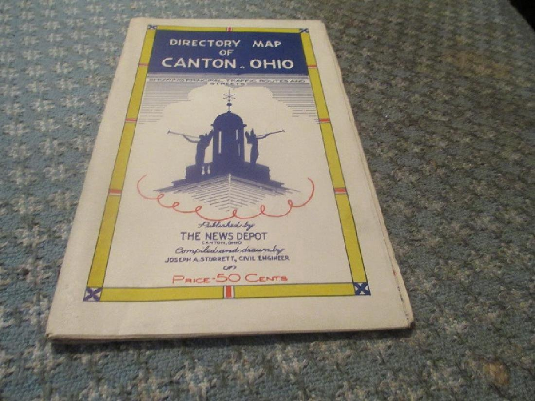 Canton, Ohio Directory Map 1950's W/ Traffic Routes