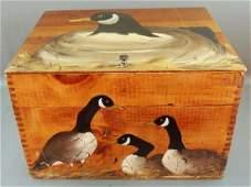 Folk Art Dovetailed Hinged Box Hand Painted, Wildlife