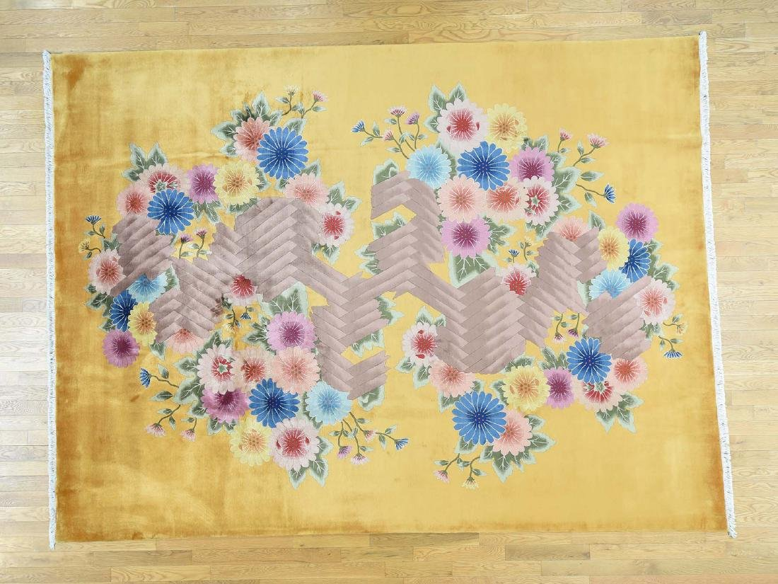 CHINESE ART DECO ORIENTAL HAND-KNOTTED RUG