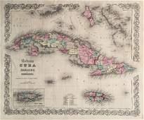 Colton: Antique Map of Cuba Jamaica Puerto Rico, 1855